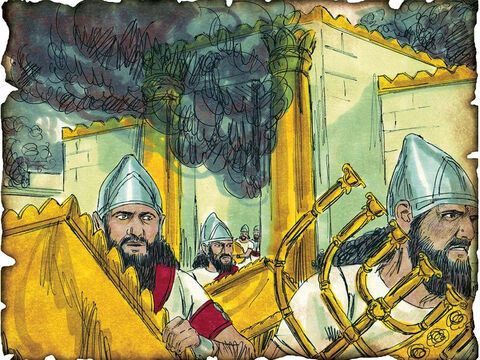 """Remaining Two Tribes Carried Into Captivity into Babylon. 586 B.C. II Chronicles 36: Despite continued warnings from God's prophets, the southern two tribes of Israel are taken into captivity to Babylon for repeatedly disobeying God. """"Nebuchadnezzar king of Babylon came up against him, and bound him in bronze fetters to carry him off to Babylon."""" – Slide 28"""