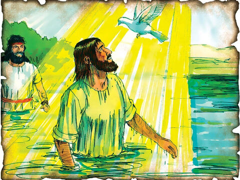 "Jesus is Baptized by John the Baptist! 27 A.D. John 1 & Matthew 3: Jesus is baptized by John the Baptist to fulfill God's promise of redemption as John announces, ""Behold! The Lamb of God who takes away the sin of the world!"" – Slide 36"