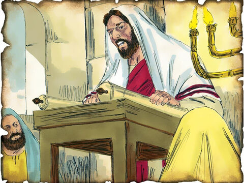 """Jesus Announces His Ministry in the Synagogue! 27 A.D. Luke 4 & Isaiah 61 Jesus announces His ministry in the synagogue and reads from the book of Isaiah that the Messiah has come. """"The Spirit of the LORD is upon Me. He has anointed Me to preach the gospel to the poor. To proclaim liberty to the captives."""" – Slide 37"""