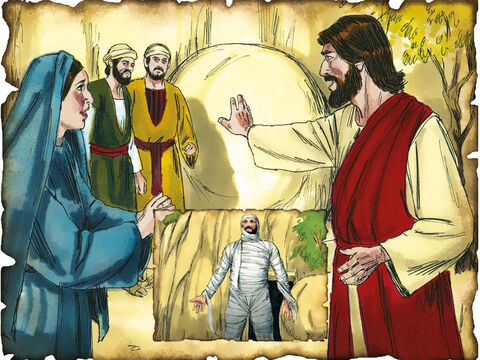"Jesus Raise Lazarus from the Dead, Proving He is God! 30 A.D. John 11: Jesus raises Lazarus from the dead after three days in the grave, proving that He is God! ""Lazarus, come forth!"" And he who had died came out bound hand and foot with grave clothes, and his face was wrapped with a cloth."" – Slide 40"