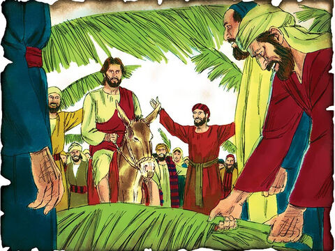 """The Servant Messiah Enters into Jerusalem! 30 A.D. Matthew 21 & Zechariah 9: Jesus enters Jerusalem on a donkey to fulfill the words of the prophet Zechariah as the people proclaim. """"Hosanna to the Son of David! 'Blessed is He who comes in the name of the LORD!' Hosanna in the highest!"""" – Slide 45"""