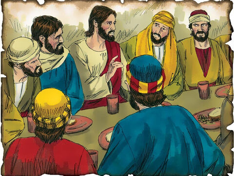 "Jesus Celebrates Passover – The Lord's Supper! 30 A.D. Luke 22: Jesus establishes the new covenant of communion for believers. God will now pass over the sins of believers because of the sacrifice of His broken body and the shed blood of Jesus for the sins of mankind. ""This is My body which is given for you; do this in remembrance of Me."" ""This cup is the new covenant in My blood, which is shed for you."" – Slide 46"