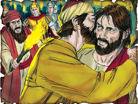 """Judas Betrays Jesus! 30 A.D. Matthew 27: Judas betrays Jesus for thirty pieces of silver. Judas realizes he has betrayed an innocent man and hangs himself. """"And they took the thirty pieces of silver, the value of Him who was priced, and gave them for the potter's field, as the LORD directed me."""" – Slide 48"""