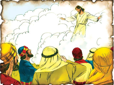 """Jesus Ascends into Heaven, Promise of Power and Promises to Return! 30 A.D. Acts 1: Jesus tells the disciples they will be witnesses for Him and ascends into heaven. He promises to send the Holy Spirit to give them power to witness for His name as an angel tells them to get moving because Jesus will come again. """"But you shall receive power when the Holy Spirit has come upon you; and you shall be witnesses to Me."""" – Slide 53"""