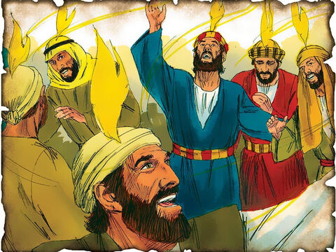 """The Holy Spirit Arrives at Pentecost! Gospel is Preached by Peter and 3000 Jews are Saved! 30 A.D. Acts 2: On the day of Pentecost Peter preaches the Gospel of Jesus Christ. """"Repent, and let every one of you be baptized in the name of Jesus Christ for the remission of sins; and you shall receive the gift of the Holy Spirit."""" 3000 are saved that day. – Slide 54"""