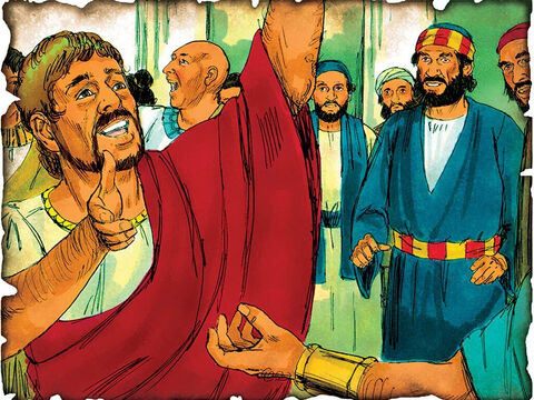 """Peter Takes the Gospel to the Gentiles! 37 A.D. Acts 10: Peter is sent to preach the Gospel of Jesus Christ to Cornelius, a Gentile, as God now offers the Gospel not only to the Jews but to the entire world. """"But God hath showed me that I should not call any man common or unclean."""" – Slide 57"""