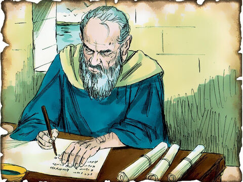 """John is Exiled to Patmos and Writes the Letters to the Seven Churches in Asia! 90 A.D. Revelation 1: The Apostle John is exiled to the Island of Patmos for preaching the Gospel of Jesus Christ. He receives a series of visions of the end times and writes the Book of Revelation to the seven churches in Asia. """"What you see, write in a book and send it to the seven churches which are in Asia."""" – Slide 63"""