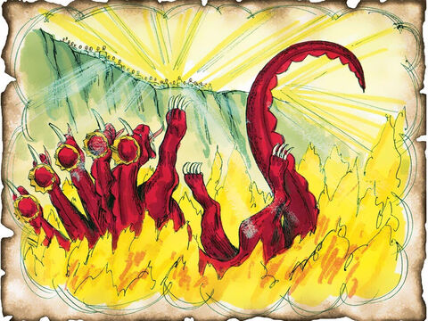 """Satanic Rebellion Crushed. Satan Cast into the Lake of Fire. Great White Throne Judgment. Yet to take place. Revelation 20: Satan is released from the bottomless pit and deceives the nations one last time before being defeated by Jesus. The Great White Throne judgment occurs and Satan and all nonbelievers are cast into the Lake of Fire forever. """"Another book was opened, which is the Book of Life. And the dead were judged according to their works."""" – Slide 67"""
