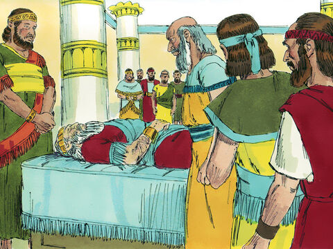 After a reign of 40 years, Solomon died and his son Rehoboam became king. – Slide 12