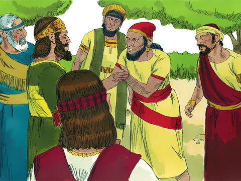 'Your father was a hard master,' the protesters told Rehoboam. 'We don't want you as our king unless you promise to treat us better than Solomon did.' 'Give me three days to think this over,' Rehoboam replied. 'Then, come back for my answer.' So the people left. – Slide 14