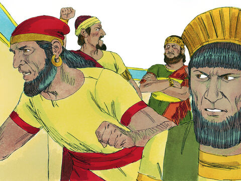 When the people realised that the king was refusing to listen to them, they began shouting, 'Down with David and all his relatives! Rehoboam can be king of his own family! Let's go home!' As the prophet had foretold, ten tribes deserted the king and only the tribes of Judah and Benjamin remained loyal. – Slide 18