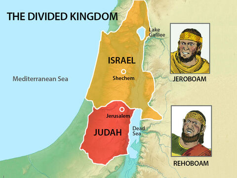 The nation of Israel was now divided with King Rehoboam ruling over the tribe of Judah and Benjamin in Jerusalem and Jeroboam ruling the ten remaining tribes of Israel from Shechem. – Slide 21