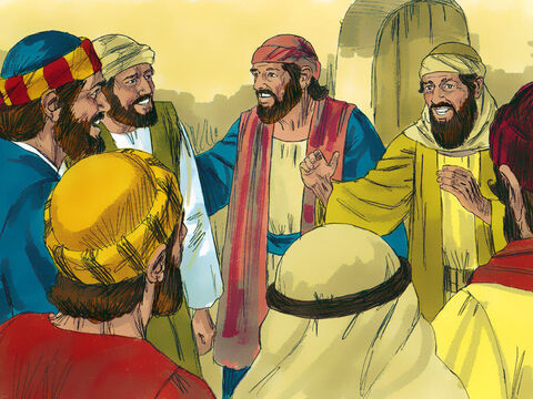 The disciples had not believed the report from the women who had visited the tomb, that Jesus was alive. Then later that day two of them had been walking to the nearby village of Emmaus when Jesus had appeared to them. They had rushed back to report the news. That evening the disciples locked the doors of the room they were in, afraid that the Jews might arrest them. – Slide 1