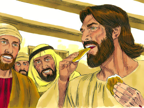 They gave Him a piece of broiled fish, and Jesus ate it as they watched. They now knew they were not seeing a ghost. – Slide 5