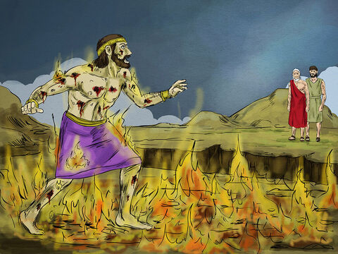 """The rich man was in torment in hell and looked up and saw Abraham far away with Lazarus. He shouted, """"Father Abraham,have pity on me and send Lazarus to dip the tip of his finger in water and cool my tongue, because I am in agony in this fire."""" – Slide 6"""