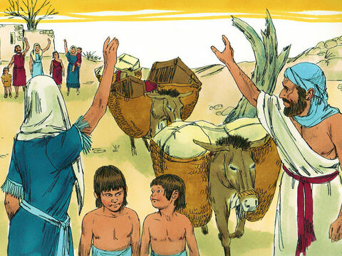 Elimelek and his wife Naomi had two sons, Mahlon and Kilion, and lived in the town of Bethlehem in Judah. When the area was hit with famine they decided to leave to find food. – Slide 1