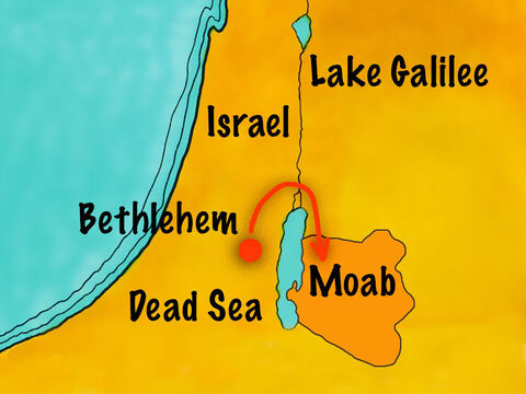 They travelled to the nearby land of Moab and settled there to live. The Moabite people did not worship God but their own idols. – Slide 2