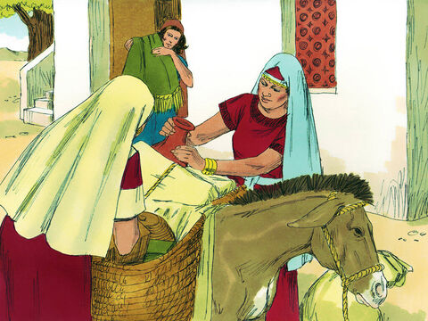 When Naomi heard that the Lord had provided food for the people back in Bethlehem she decided to return. The three widows packed up their belongings. – Slide 5