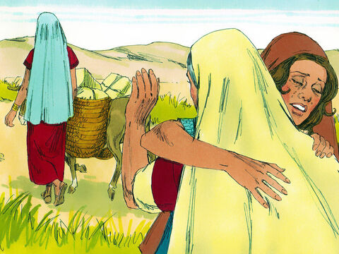 Orpah and Ruth wept again. Orpah kissed Naomi goodbye and returned home to her mother's house. Ruth however clung hold of Naomi and would not let go. – Slide 8