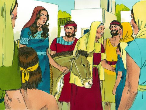 They arrived back in Bethlehem just as the barley harvest was beginning. Their arrival caused quite a stir. Naomi's grief and suffering had changed her appearance so much that many did not recognise her. 'Can this be Naomi?' people asked. – Slide 12