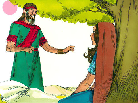 Boaz went across to Ruth. 'Stay in these fields with the women who work for me,' Boaz told her. 'I have told the men not to lay a hand on you. When you get thirsty help yourself to the water jars the men have filled.' – Slide 4