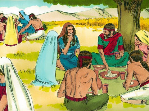 At mealtime Boaz invited her to eat with the other harvesters. 'Have some bread and dip it in the wine vinegar,' he said. He offered her roasted grain. Ruth ate all she wanted. – Slide 7