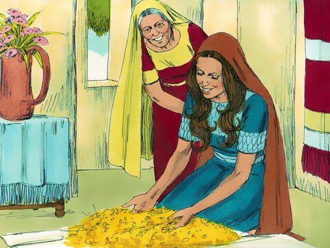 Ruth threshed the barley she had gathered and took it home to Naomi. It was a large amount, about 30 pounds (13 kilograms). She also brought Naomi the food leftover from the meal she had with Boaz and the harvesters. – Slide 9