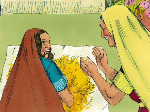 'Where did you gather grain today?' Naomi asked. 'Who is the man who has been kind to you?' 'Boaz, Ruth replied. 'The Lord bless him,' said Naomi. 'He is a close relative we know as a guardian-redeemer. He has an obligation to look after a relative who is in need.' – Slide 10
