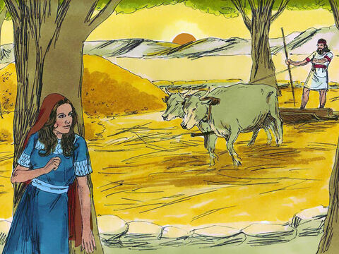 Ruth made her way down to the threshing floor where Boaz was working making sure she was not seen. – Slide 2