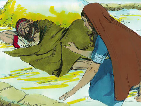 When Boaz had finished eating and drinking he lay down at the far end of a grain pile. Ruth crept up to him, uncovered his feet and lay down. – Slide 3