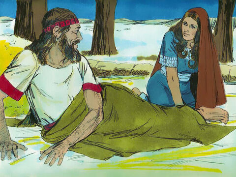 During the night Boaz woke up to find a woman asleep at his feet. 'Who are you?' he asked. 'I am your servant Ruth,' she replied. Spread the corner of your garment over me as you are a guardian-redeemer of my family.' A guardian redeemer was someone obliged to look after a relative in need. Boaz was related to Noami's dead husband Elimelek. – Slide 4