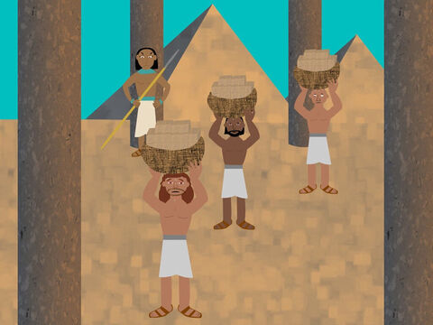 After Joseph and his brothers and family died, the people of Israel had lots and lots of children. A new king of Egypt began to rule and he became afraid of the Israelites and thought they would fight him to take over the land. So he made them slaves and used them to build the cities of Pithom and Raamses. – Slide 1