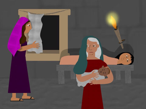 The king hated the Israelites so much he commanded the baby boys must be killed but two Hebrew midwives, called Shiphrah and Puah, feared God more than the king and hid the baby boys so they would be safe. – Slide 2