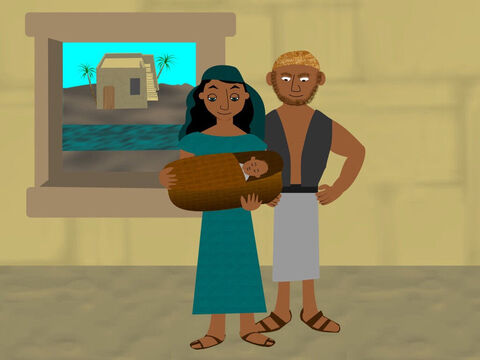 There was a man from the Levi tribe and he and his wife had a baby boy. The woman hid their son for as long as she could but eventually she had to find another way to protect him. – Slide 3