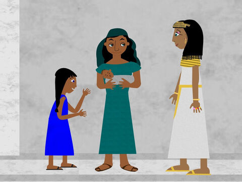 Then the sister of the baby came along and asked Pharaoh's daughter if she would like a nurse to take care of the baby and the princess agreed to this. So his sister brought her mother to look after her own son. – Slide 6
