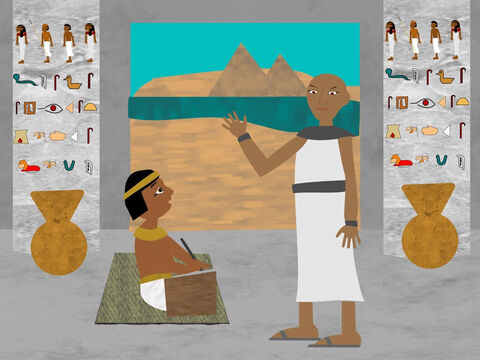 The baby grew and was brought up as the son of Pharaoh's daughter in the royal palace and was taught all the knowledge of the Egyptians. And the princess called his name Moses because she said 'I drew him out of the water'. – Slide 7