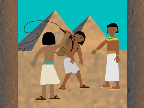 When Moses grew up he left the palace and went to see the Israelites who were his people. He saw one of the Egyptians hurting a slave. – Slide 8