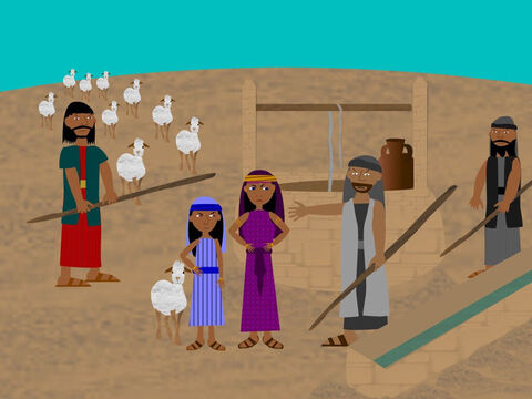 Moses came to a well in the desert to drink from. Some girls came along to water their flocks and shepherds tried to drive them away but Moses came to their rescue and gave drink to their animals. – Slide 12
