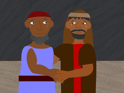 Along the way he met his brother Aaron who was very glad to see him again. Moses told his brother everything that God had said and all the signs he had performed. – Slide 9
