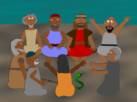 And when Moses and Aaron arrived back in Egypt they had a meeting with all the elders of Israel. Aaron told them everything God had said and performed the signs that Moses had seen at the burning bush. – Slide 10