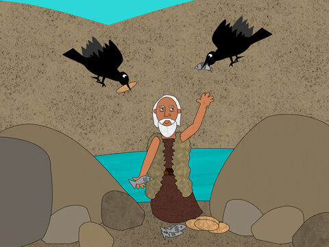 Then God told Elijah to go to a place called the Brook Cherith where He had commanded ravens to feed the prophet. The birds brought Elijah meat and bread every morning and evening. He drank water from the brook. – Slide 4