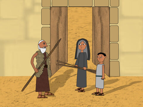 When he came to the city gates the widow was at the entrance collecting sticks. – Slide 7