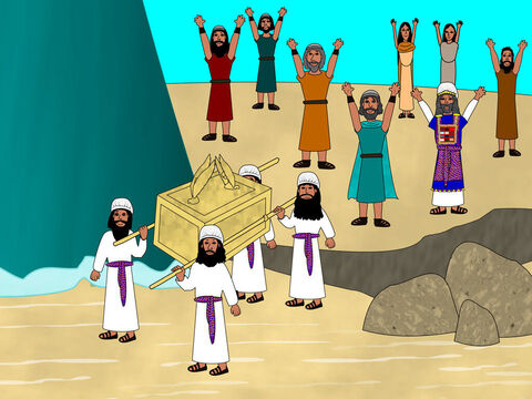 The priests carrying the Ark started walking into the river. As soon as their feet touched the water the river stopped flowing and built up like a large dam wall. The river bed where the priests were standing became dry. – Slide 4