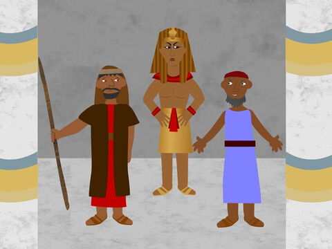 Moses and Aaron went to Pharaoh to ask him to let God's people go so they could worship Him in the wilderness. Pharaoh said, 'No'. He had a hard heart and would not let the people go. He wanted to keep the Israelites as his slaves. – Slide 1