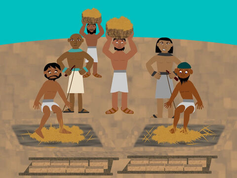 The Israelites had to work harder and harder. And when they didn't make enough bricks the taskmasters beat them. – Slide 3