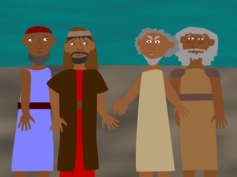 The elders of Israel came to Moses and Aaron and began to complain how cruelly all the Israelites were being treated. They blamed Moses and Aaron for making their lives worse by telling Pharaoh that God had said he must let the slaves go. – Slide 4