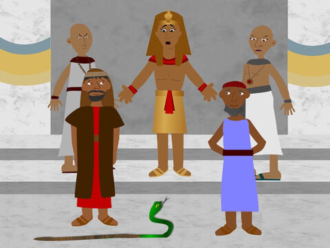 Moses and Aaron went to Pharaoh again and asked him to let God's people, the Israelites, go. To show God's power Aaron threw the rod he was holding to the ground and it became a snake. Pharaoh's magicians used their magic to make their rods become snakes too. – Slide 6