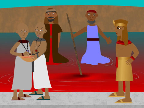 Moses and Aaron went to Pharaoh again. This time Aaron struck the River Nile with his rod and the water turned to blood and all the drinking water in Egypt became blood-red too. The magicians of Pharaoh used their magic to do the same thing. Pharaoh would not listen to God or let the Israelite slaves go. – Slide 8