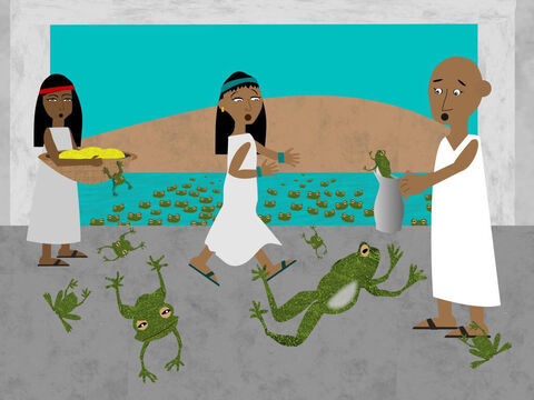The water was turned to blood for seven days and then God caused another plague to come to Egypt. This time He commanded Aaron to stretch out his rod over all the rivers and streams. Suddenly frogs appeared and sprang out all over the land. They were everywhere, even in Pharaoh's palace. Pharaoh begged Moses and Aaron to stop the plague of frogs and they did, but Pharaoh would not listen to God and let His people go. – Slide 9