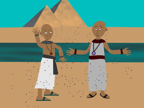 So, God told Aaron to stretch out his rod again over all the dust of the land and it turned into lice. The lice appeared on all the Egyptians, including their magicians who warned Pharaoh, 'This is the work of God.' But Pharaoh stubbornly refused to let the Israelite slaves go. – Slide 10
